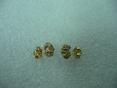 2accc41ca VINTAGE 14K & Pure 24K Yellow Gold Nugget Stud Earrings Gold Rush ...