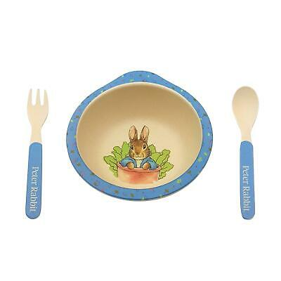 Official Licensed Beatrix Potter Blue Food Bowl Fork Spoon Nursery Children Kids