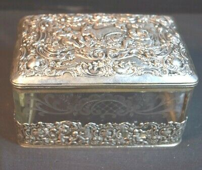 800 Continental Silver Mounted Etched Glass Box