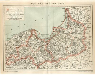 1895 EAST and WEST PRUSSIA GERMANY POLAND RUSSIA Antique Map