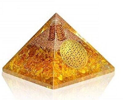 Extar Large 70-75MM Citrine Orgonite Pyramid Emf Protection Orgone Energy