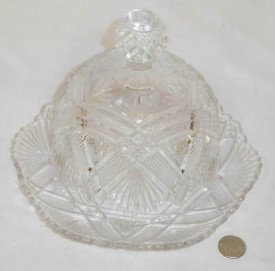 Antique Elegant Crystal Clear Pressed Glass Dome Top Butter / Cheese Dish