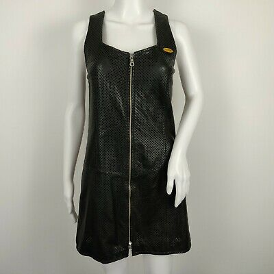1d8348cf4e9a HARLEY DAVIDSON Leather Dress Womens 38 / 10 Black Perforated Front Zip  Jumper