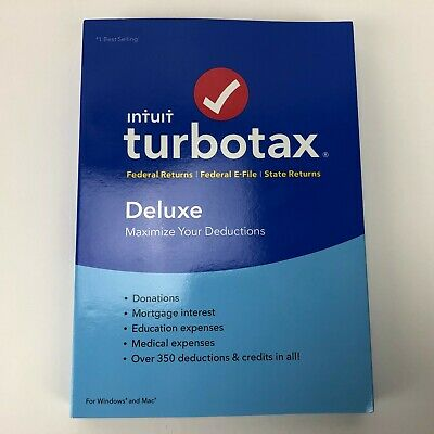 Intuit Turbotax Deluxe Federal + State 2018 Tax Software-New Selaed