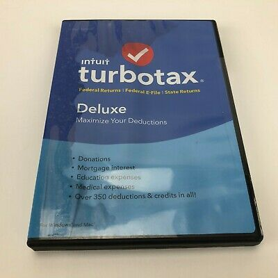 Intuit Turbotax Deluxe  Federal/State Returns 2018 Tax Software-New-READ!!