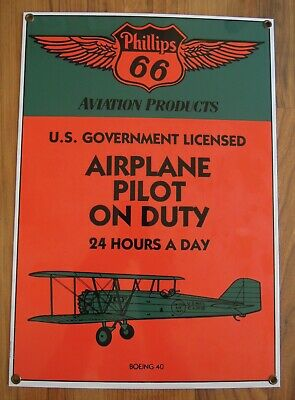 Ande Rooney Phillips 66 Aviation Products Porcelain Sign-Airplane Pilot On Duty