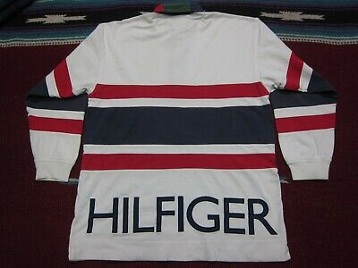 31c9753a VTG 90s Tommy Hilfiger Sailing Gear Spell Out Striped Polo Shirt White  Medium M