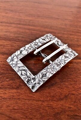 Rare S. Kirk & Son Sterling Silver Sash Pin Buckle: Repousse No Monogram