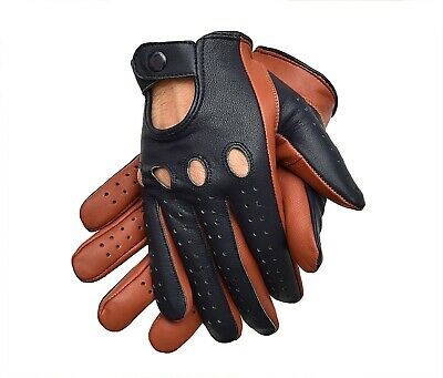 Men's Chauffeur Real Sheep  Leather Car Driving Trucking Riding Gloves
