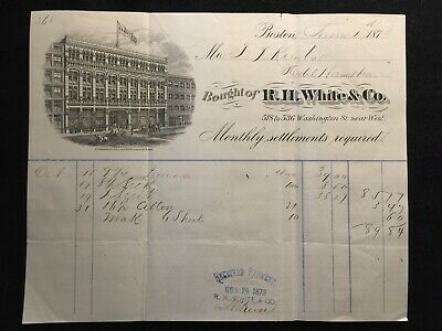 1878  R.h. White & Co. Boston, Massachusetts {Large Detailed} Billhead Ephemera!