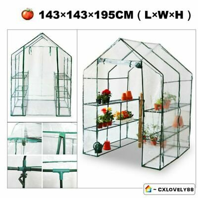 Walk-In Large Greenhouse With Shelves/Pvc Plastic Cover Outdoor Garden Uk