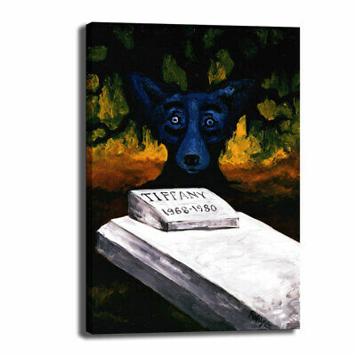 HD Print Canvas Cartoon Blue Dog Art Picture Home Decor Wall Art Painting 14X22