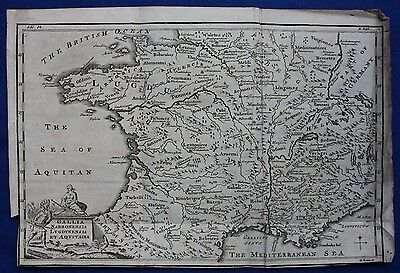 Original antique map ANCIENT FRANCE 'GALLIA NARBONENSIS', Emmanuel Bowen, 1747