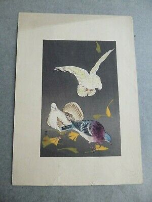 Antique Japanese Colour Block Print=3 Doves+Gingko Leaves=Signed