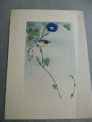 Antique Japanese Colour Block Print=Single Finch Perching On Creeper - Blossom