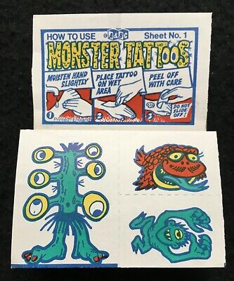 A&BC 1970 Monster Tattoos No.1 Unused Complete Transfer Sheet - See Description