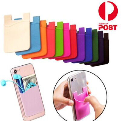 Silicone Credit Card  Holder Pocket Case Wallet Pouch Sticker Cellphone Phone