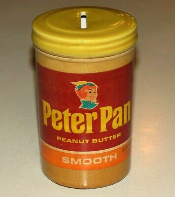Vintage Derby Foods Peter Pan Peanut Butter Ceramic Coin Jar Bank Collectible