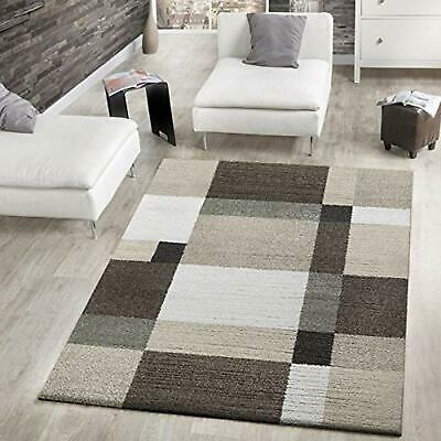 Thick Woven Rug Modern Design Beige Brown Carpet Geometric Large Small Soft Mats