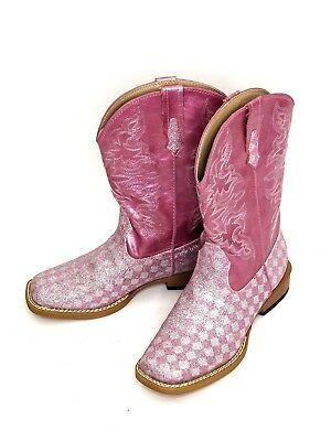 c19080d2175 SO CUTE! ROPER Glitter Cowgirl Boots Brown Pink Embroidered Flowers ...