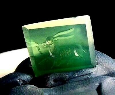 Antique intaglio running Long Horn fawn deer green agate Fabulous Square Stamp