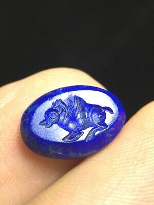 Original Neat Detail Antique Near Easten Lapis Pegasus  old Bead Crest Stamp
