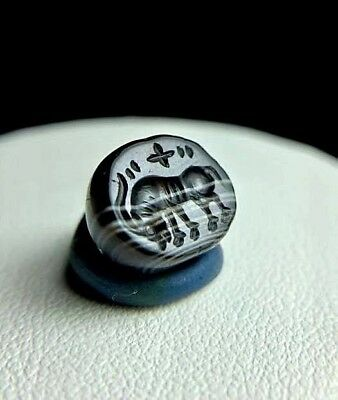 REAL Ancient Sulemani AGate Intaglio Bull OX Strenght Symbol Seal Stamp Bead