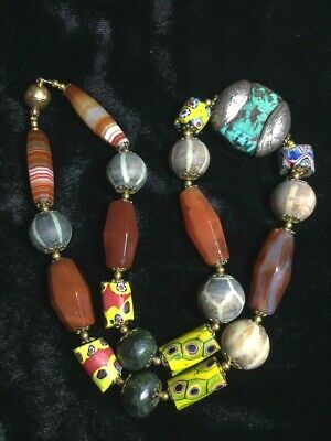 Wondeful Combination! Ancient Turquoise Carnelian Venetian Silver Bead Necklace