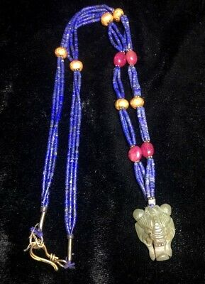 Ancient Lapis Genuine Solid Gold Bead Real Ruby Jade Tiger Head Pendant Necklace