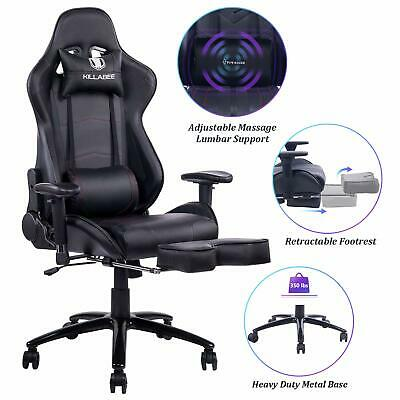 KILLABEE Big and Tall 350lb Massage Memory Foam Gaming Chair Office Chair, Black