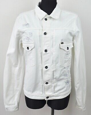 TIGER OF SWEDEN Large Denim Jacket Men's White L Button Up Coat Jeans Cotton Top