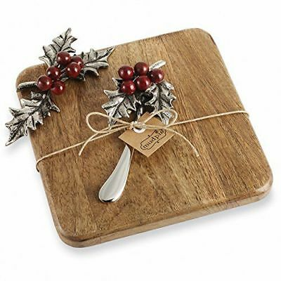 Mudpie Christmas Holly Leaf Berry Cheese Serving Cutting Board w/ Spreader Knife