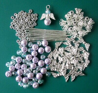 12 / 24 Lavender Glass Bead Guardian Angels / Fairy Charms / Wings - Diy Kit