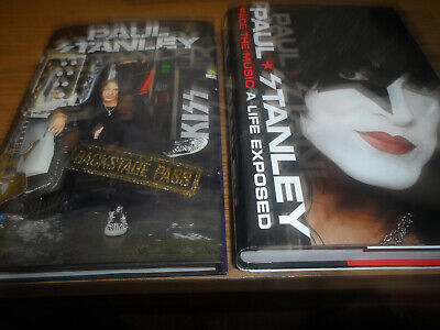 PAUL STANLEY signed/autographed book lot ( KISS) FACE THE MUSIC & BACKSTAGE PASS