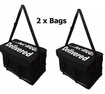 "2 x Extra Large Foil Insulated Heavy Duty Takeaway Delivery Bag Size18x13x13""inc"
