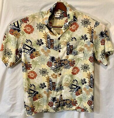 34307cfd Disney Mens Medium Tiki Hawaii Style Surfs Up, Skull, Mickey Mouse, Button  Up