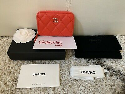b189ccd43d9e New CHANEL NIB 19S Red Caviar Coral Zippy Coin Purse Wallet / Cardholder GHW