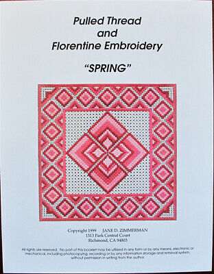 Jane Zimmerman Pulled Thread & Florentine Embroidery - Spring NdlptChart/Pattern