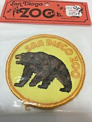 Vintage SAN DIEGO ZOO Brown Grizzly Bear Embroidered Patch California NOS