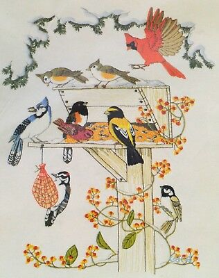 BIRDS FEEDING Vintage Crewel Embroidery Kit Linda K. Powell Cardinal Blue Jay