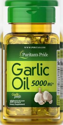 Puritan's Pride Garlic Oil 5000 mg-100 Rapid Release Softgels
