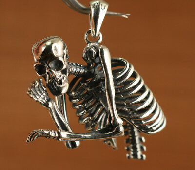 100% 925 Silver fashion human skeleton Skull pendant Backpack hang netsuke art