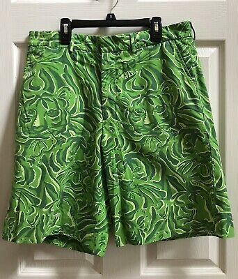 2b87e4f1f9 Men'S Lilly Pulitzer Via Palm Beach Green Tiger Print Cotton Golf Shorts 32