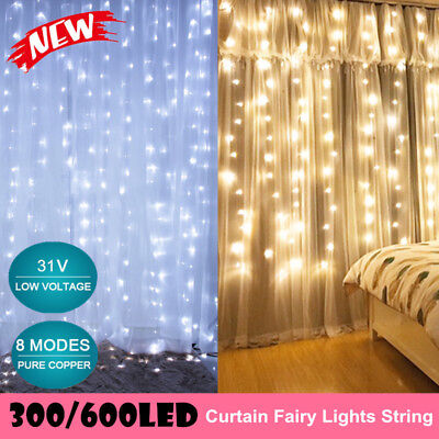 300 LED Curtain String Fairy Light Christmas Wedding Lighting Waterfall 8 Modes