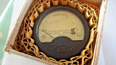 Vintage 1942 AM Kings crown marked RF ammeter 0-2.5a. Aircraft, ratrod 10A8038