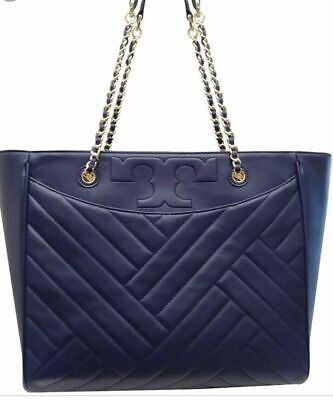 238147a35dc5 100% AUTHENTIC Tory Burch Alexa Quilted Leather Tote Royal Navy NWT MSRP $  595
