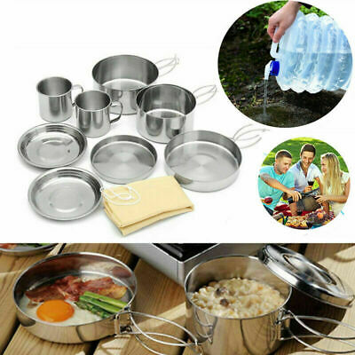Camping Hiking Cookware Picnic Pot Pan with 15L Foldable Water Container Bottle