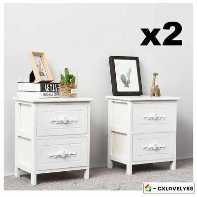 Pair of White Bedside Tables Cabinets Wooden Nightstand 2 Rose Drawers UK
