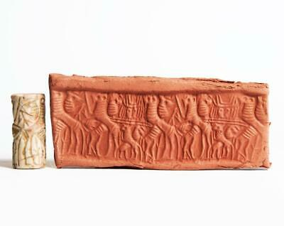 Early Dynastic Western Asiatic Cylinder Seal with Contest Scene: Circa 2500 BC.