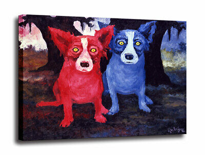 HD Print Canvas Cartoon Blue Dog Art Picture Home Decor Wall Art Painting 16X20